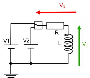 RL circuit switched between two DC Voltages