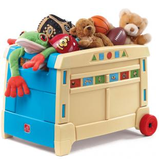 Image of a toy box, overflowing with teddy bears